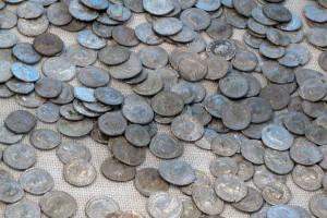 Der Hortfund von über 1500 Silbermünzen kam in den Mannschaftsbaracken zutage, Römermuseum Tulln © Eva Kuttner